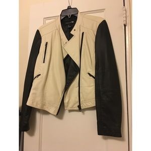 Forever 21 Black and White Faux Leather Jacket